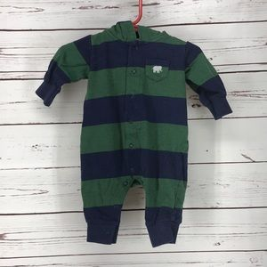Carter's Boys Blue & Green Striped footed outfit